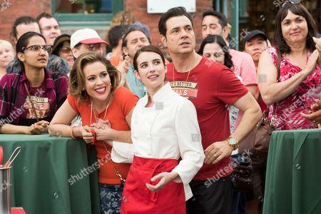 Alyssa Milano as Dora Angioli, Adam Ferrara as Sal Angioli and Emma Roberts as Nikki Angioli