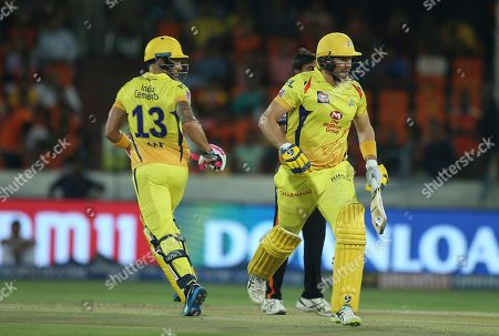 Shane Watson, Faf du Plessis. Chennai Super King's Shane Watson and Faf du Plessis run between the wickets during the VIVO IPL T20 cricket match between Sunrisers Hyderabad and Chennai Super Kings in Hyderabad, India