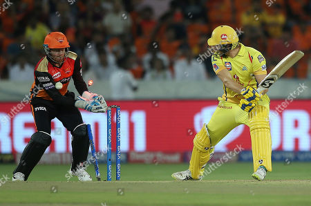 Chennai Super King's Shane Watson is bowled by Sunrisers Hyderabad Shahbaz Nadeem during the VIVO IPL T20 cricket match in Hyderabad, India
