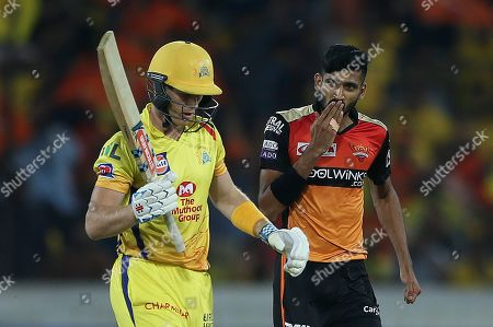 Sunrisers Hyderabad's bowler Khaleel Ahmed celebrates the dismissal of Chennai Super King's Sam Billings during the VIVO IPL T20 cricket match in Hyderabad, India