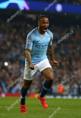 Stock Image of Manchester City's Raheem Sterling celebrates before his goal was disallowed for offside against Manchester City's Sergio Aguero following a VAR review during the Champions League quarterfinal, second leg, soccer match between Manchester City and Tottenham Hotspur at the Etihad Stadium in Manchester, England
