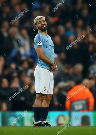 Stock Picture of Manchester City's Sergio Aguero reacts after the final whistle for them to be defeated on away goals and knocked out after the Champions League quarterfinal, second leg, soccer match between Manchester City and Tottenham Hotspur at the Etihad Stadium in Manchester, England