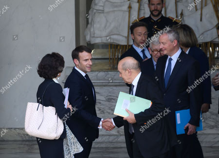 French President Emmanuel Macron and French Foreign Minister Jean-Yves Le Drian and French Economy Minister Bruno Le Maire
