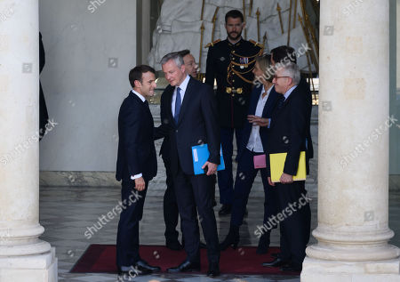 French President Emmanuel Macron, Stephane Bern, French Economy Minister Bruno Le Maire and Valerie Pecresse a