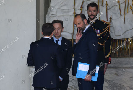 French President Emmanuel Macron, Stephane Bern and French Prime Minister Edouard Philippe