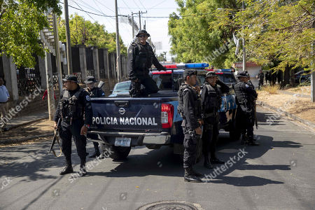 Members of Nicaraguan National Police patrol during an opposition's anti-Government protest, in Managua, Nicaragua, 17 April 2019.