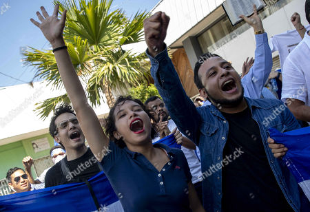 Demonstrators shout slogans during an opposition's anti-Government protest, in Managua, Nicaragua, 17 April 2019.