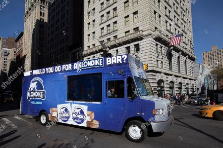 """What Would You Do for a Klondike Bar"""" with Anna Faris. The Klondike Truck hits the streets of New York on Wednesday, April 17th, 2019 as part of the brand's """"What Would You Do for a Klondike Bar?"""" bold campaign relaunch"""