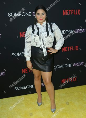 "Jessica Marie Garcia arrives at a special screening of ""Someone Great"", at ArcLight Hollywood in Los Angeles"
