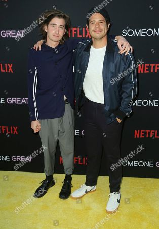 """Conner McVicker, Jorge Diaz. Conner McVicker, left, and Jorge Diaz arrive at a special screening of """"Someone Great"""", at ArcLight Hollywood in Los Angeles"""