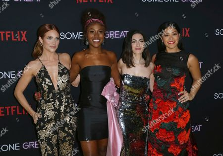 """Brittany Snow, DeWanda Wise, Jennifer Kaytin Robinson, Gina Rodriguez. Brittany Snow, from left, DeWanda Wise, Jennifer Kaytin Robinson and Gina Rodriguez arrive at a special screening of """"Someone Great"""", at ArcLight Hollywood in Los Angeles"""