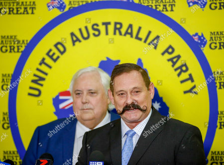 Federal Leader of the United Australia Party Clive Palmer (L) and Martin Brewster (R) address the media during a press conference in Townsville, Australia, 18 April 2019. Former rugby league player Greg Dowling has been named as the candidate for Clive Palmer's political party in the Townsville seat of Herbert.
