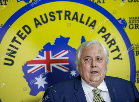 Stock Photo of Federal Leader of the United Australia Party Clive Palmer addresses the media during a press conference in Townsville, Australia, 18 April 2019. Former rugby league player Greg Dowling has been named as the candidate for Clive Palmer's political party in the Townsville seat of Herbert.