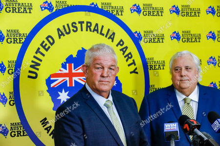 Federal Leader of the United Australia Party Clive Palmer (R) and former rugby league player Greg Dowling (L) address the media during a press conference in Townsville, Australia, 18 April 2019. Former rugby league player Greg Dowling has been named as the candidate for Clive Palmer's political party in the Townsville seat of Herbert.