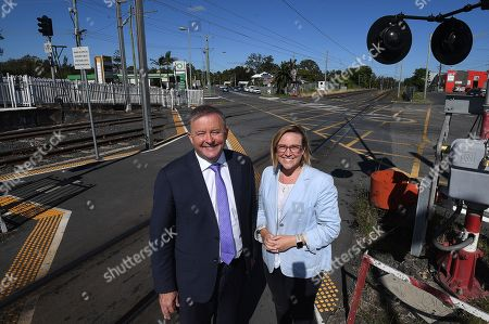 Stock Picture of (L-R) Shadow minister for Infrastructure, Transport and Regional Development Anthony Albanese and candidate for Bonner Jo Briskey pose for a photograph following a funding announcement for an intersection upgrade at Wynnum in Brisbane, Australia, 18 April 2019.