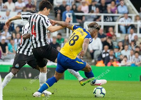 Mario Lemina of Southampton under pressure from Ki Sung-Yueng of Newcastle United