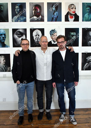 Stock Picture of (L-R) Federico Borella, Photographer of the Year, artist Nadav Kander this year's Outstanding Contribution to Photography and exhibition curator Mike Trow