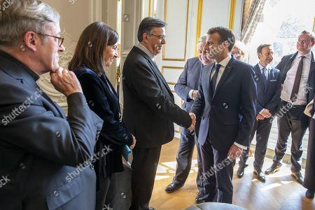 Anne Hidalgo, Emmanuel Macron, Gerard Larcher and Stephane Bern