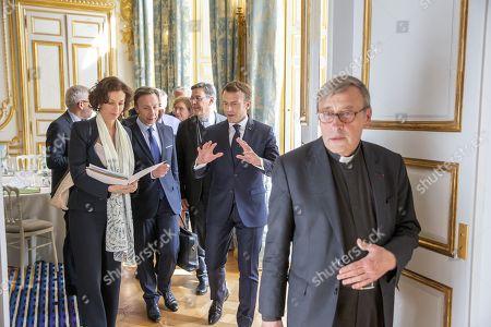 Emmanuel Macron and Stephane Bern