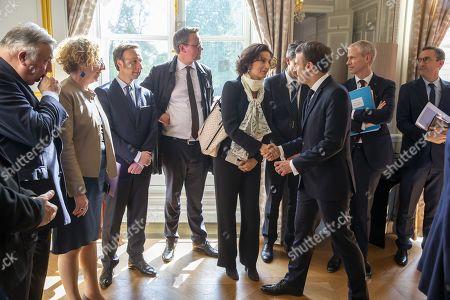 Emmanuel Macron, Stephane Bern, Muriel Penicaud and Franck Riester