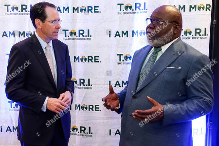 Stock Picture of Bishop T.D. Jakes, Randall Stephenson. Randall Stephenson AT&T CEO, left, and Bishop T.D. Jakes, right, before an inaugural fundraising luncheon for the Texas Offenders Reentry Initiative (T.O.R.I.) on in Dallas