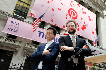 Ben Silbermann, Evan Sharp. Pinterest co-founder & CEO Ben Silbermann, left, and fellow co-founder and chief product officer Evan Sharp, pose for photos outside the New York Stock Exchange, before the company's IPO