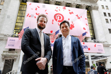 Ben Silbermann, Evan Sharp. Pinterest co-founder & CEO Ben Silbermann, right, and fellow co-founder and chief product officer Evan Sharp, pose for photos outside the New York Stock Exchange, before the company's IPO