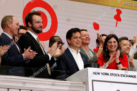 Ben Silbermann, Evan Sharp, Stacey Cunningham. Pinterest co-founder & CEO Ben Silbermann, center, and fellow co-founder and chief product officer Evan Sharp, second left, ring the New York Stock Exchange opening bell, before the company's IPO. At right is NYSE President Stacey Cunningham