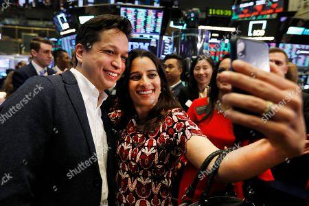 Ben Silbermann, Divya Silbermann. Pinterest co-founder & CEO Ben Silbermann and his wife Divya Silbermann take a selfie on the the New York Stock Exchange trading floor, before the Pinterest IPO