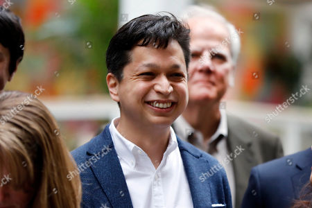 Pinterest co-founder & CEO Ben Silbermann, is photographed outside the New York Stock Exchange, before the company's IPO
