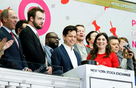 Stock Picture of Pinterest CEO Ben Silbermann (C) and Evan Sharp (2-L), the company's co-founder and chief product officer, ring the Opening Bell during the initial public offering for the social media company Pinterest at the New York Stock Exchange in New York, New York, USA, 18 April 2019.