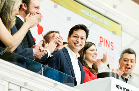 Editorial picture of Pinterest IPO at New York Stock Exchange, USA - 18 Apr 2019