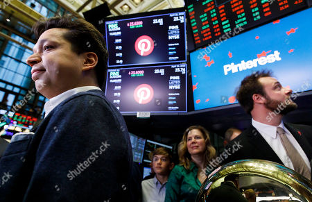 Stock Photo of Pinterest CEO Ben Silbermann (L) and Evan Sharp (R), the company's co-founder and chief product officer, are seen  following the initial public offering for the social media company Pinterest at the New York Stock Exchange in New York, New York, USA, 18 April 2019.