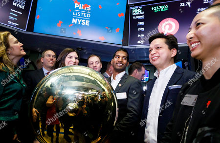 Pinterest CEO Ben Silbermann (2-R), stands with the company's leadership team after the launch of the initial public offering for the social media company Pinterest at the New York Stock Exchange in New York, New York, USA, 18 April 2019.