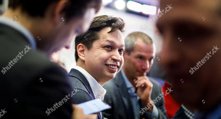 Pinterest CEO Ben Silbermann smiles during the initial public offering for the social media company Pinterest at the New York Stock Exchange in New York, New York, USA, 18 April 2019.