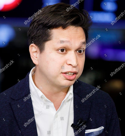 Stock Image of Pinterest CEO Ben Silbermann is interviewed following the  initial public offering for the social media company Pinterest at the New York Stock Exchange in New York, New York, USA, 18 April 2019.
