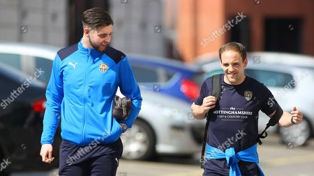 Stock Picture of Pierce Bird and David Vaughan share a word on their way into the ground.