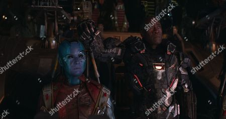 Karen Gillan as Nebula and Don Cheadle as James Rhodes/War Machine
