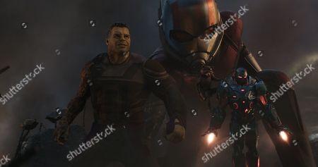 Mark Ruffalo as Bruce Banner/Hulk, Paul Rudd as Scott Lang/Ant-Man/Giant Man, Rocket Raccoon (Bradley Cooper) and Don Cheadle as James Rhodes/War Machine