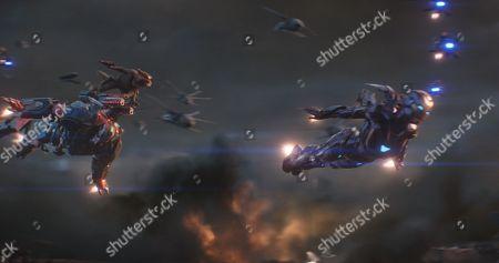 Don Cheadle as James Rhodes/War Machine, Rocket Raccoon (Bradley Cooper) and Gwyneth Paltrow as Pepper Potts