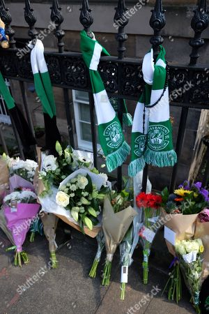 Stock Picture of Hibernian F.C. football club scarfs and flower tributes to Former boxer and Trainspotting T2 actor Bradley Welsh who died after being shot near his home