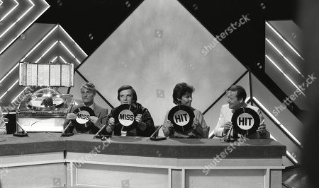 Pete Murray, Alan Freeman, Helen Shapiro and unknown, taking part in a special edition of quiz Juke Box Jury