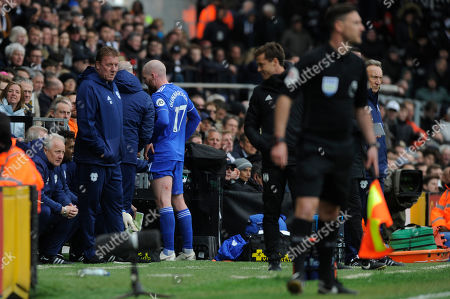 Aron Gunnarsson of Cardiff City leaves the pitch during the Premier League match between Fulham and Cardiff City at Craven Cottage in London, UK - 27th April 2019