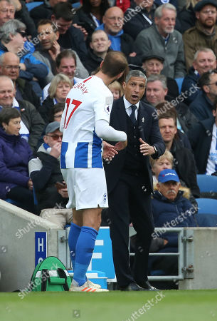 Brighton's manager Chris Hughton gives instruction to Brighton's Glenn Murray during the Premier League match between Brighton & Hove Albion and Newcastle United at the Amex Stadium in Brighton. 27 April 2019