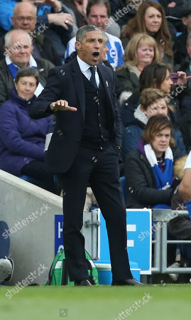 Brighton's manager Chris Hughton gestures to his players during the Premier League match between Brighton & Hove Albion and Newcastle United at the Amex Stadium in Brighton. 27 April 2019