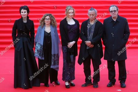 Jury members: Russian actress and director Iriana Apeksimova, Italian writer and director Valia Santella, Finnish actress Maria Jarvenhelmi, chairman of jury South Korean director Kim Ki-duk and Turkish director and producer Semih Palanoglu attend the opening of the 41st Moscow International Film Festival in Moscow, Russia, 18 April 2019. The festival runs from 18 to 25 April.