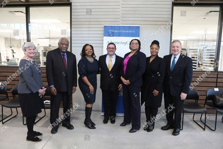 Stock Picture of Mary Fran Riley, Danny Davis, Darlene Hightower, Audrey Tankson, Ayesha Jaco, Dick Durbin. From left to right) Mary Fran Riley, Action, Congressman Danny Davis, Darlene Hightower, Rush University Medical Center, Peter Scher, JPMorgan Chase, Audrey Tankson, Rush, Ayesha Jaco, West Side United, and U.S. Senator Dick Durbin spoke at an event to announce that Chicago is one of five winning cities in JPMorgan Chase's inaugural AdvancingCities Challenge, part of a $500 million, five-year initiative to drive inclusive growth and create greater economic opportunity in cities. The Challenge awarded $3 million to Chicago's West Side United collaborative on in Chicago