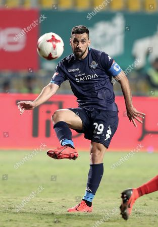 Pyramids player Abdallah El Said in action during the Egyptian League soccer match between Al-Ahly and Pyramids in Cairo, Egypt, 18 April 2019.