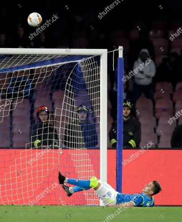 Napoli's Arkadiusz Milik missed chance to score during the Europa League second leg quarterfinal soccer match between Napoli and Arsenal at San Paolo stadium in Naples, Italy
