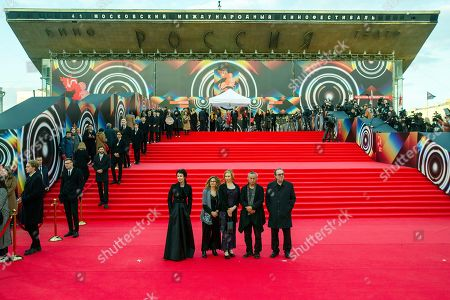 Kim Ki-duk Irina Apeksimova, Valia Santella, Maria Jarvenhelmi, Semih Kaplanoglu. Low center from left: jury members Russian actress and director Irina Apeksimova, Italian writer and director Valia Santella, Finnish actress Maria Jarvenhelmi, chairman of jury South Korean director Kim Ki-duk and Turkish director and producer Semih Kaplanoglu pose during the opening ceremony of the 41st Moscow International Film Festival in Moscow, Russia